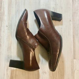 Franco Sarto Brown Leather Low Ankle Booties